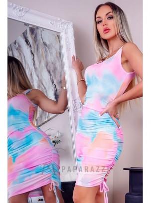 Vestido multicolor con detalle de laterales fruncidos