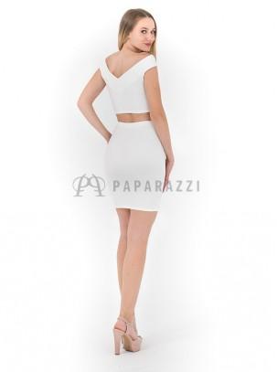 Conjunto de top con cuello barco y minifalda moldeadora