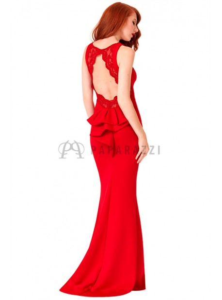 Vestido corte sirena de espalda descubierta con detalle de encaje