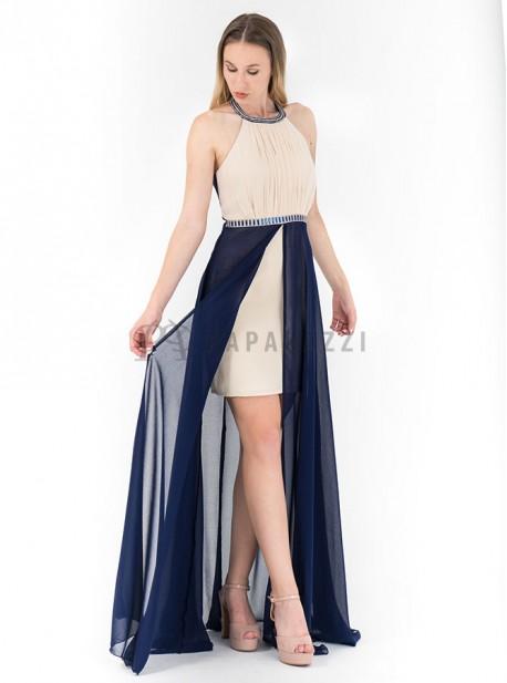 Vestido Largo De Gasa Con Corte Minifalda En El Interior Chal Incluido