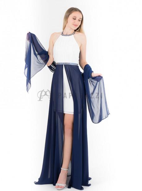 Vestido largo de gasa transparente con mini falda