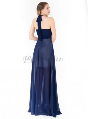 Vestido largo de gasa con corte minifalda en el interior, chal incluido