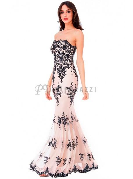 calidad autentica tan baratas buscar oficial Vestido corte sirena bordado con lentejuelas y tirantes opcionales incluidos