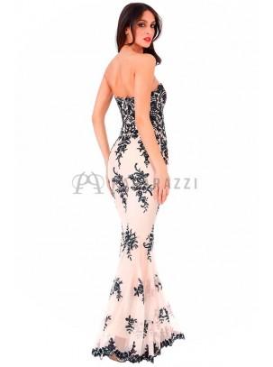 Vestido corte sirena bordado con lentejuelas y tirantes opcionales incluidos