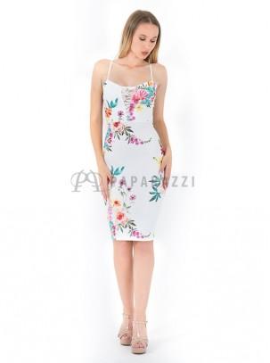 Vestido midi en estampado floral