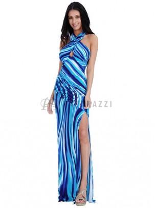 Vestido drapeado escotado con apertura pierna