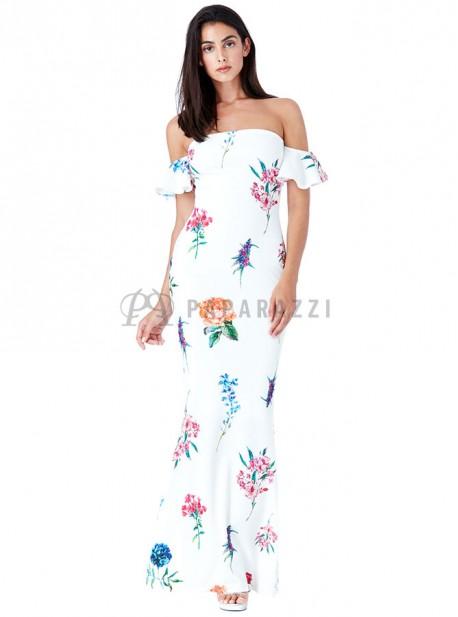 Vestido corte sirena de hombros descubiertos y estampado floral