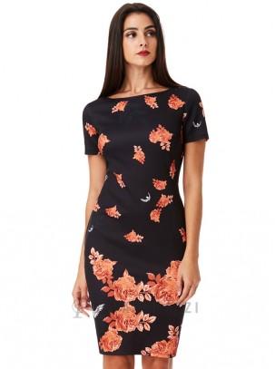 Vestido midi de cuello barco y estampado floral