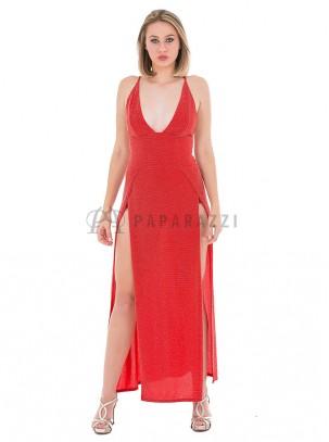 Vestido de lurex con aperturas en ambos lados y body en interior