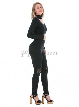 Pantalón elástico, ajustado tipo legging con cremallera en rodilla