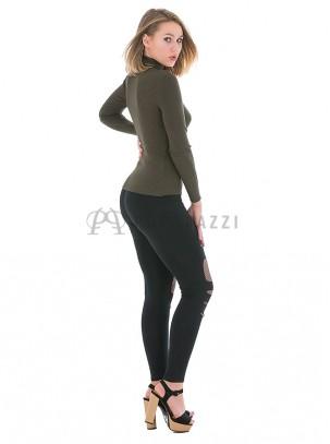 Pantalón elástico, ajustado tipo legging rasgado con red