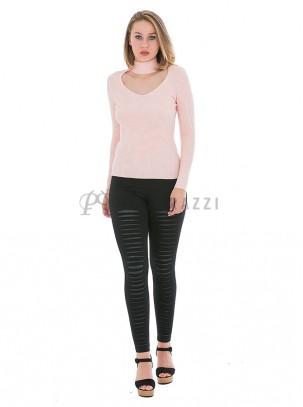 Pantalón elástico, ajustado tipo legging rasgado efecto cuero