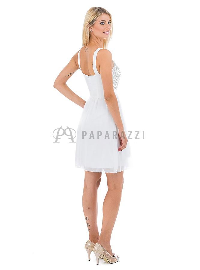 cef088f1 Vestido de gasa con transparencias y detalle de perlas - Paparazzi Moda