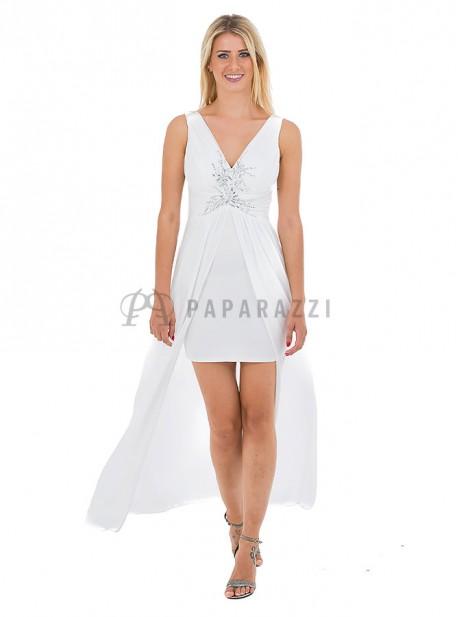 Vestido largo de gasa transparente con mini falda y chal incluido