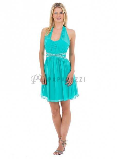 Vestido de gasa atado al cuello con pedreria