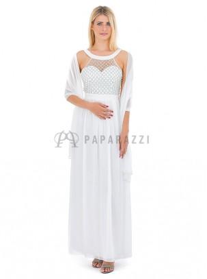 Vestido de gasa con transparencias y detalle de perlas , con chal incluido