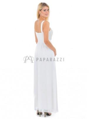 Vestido de gasa con transparencias y detalle de perlas , chal incluido