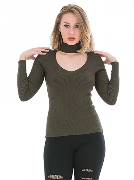 Jersey con escote y tira en el cuello estilo choker