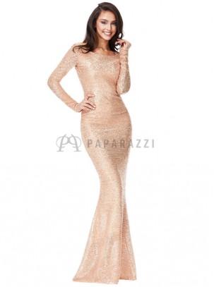 Vestido largo de lentejuelas corte sirena con cola, de manga larga y espalda descubierta
