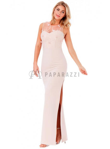 Vestido recto con transparencia ,bordado y apertura lateral