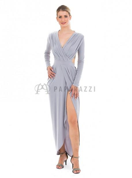 Vestido asimetrico y drapeado de mangas largas, con escote en la espalda
