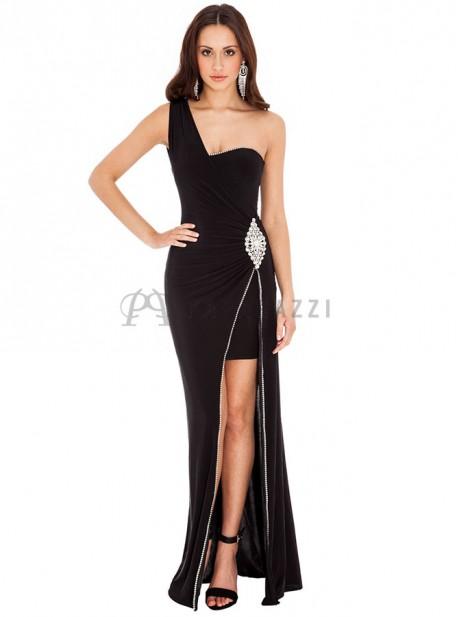 Vestido largo con corte minifalda en interior, drapeado en cintura y raja en pierna