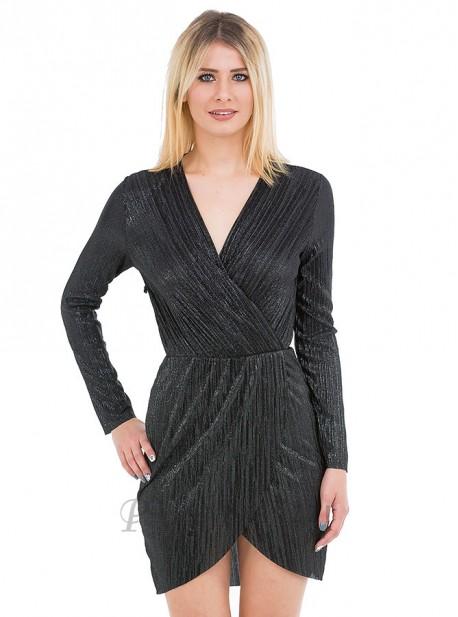 Vestido plisado de manga larga con escote cruzado y abertura asimetrica