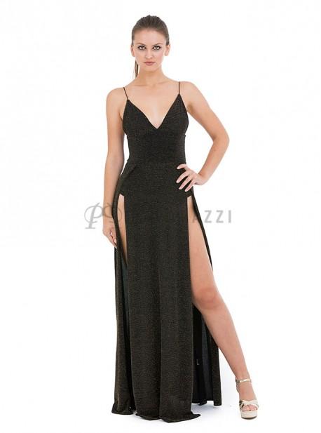 Vestido de lurex con aberturas en ambos lados y body en interior