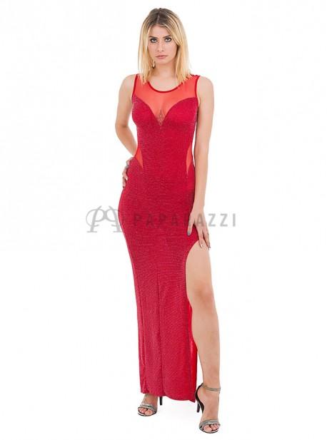 Vestido de lurex con transparencias en escote y cintura, y abertura en pierna