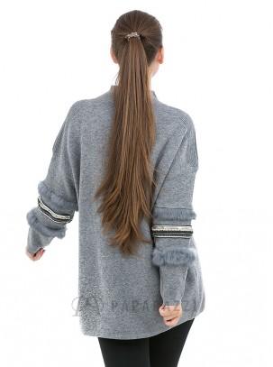 Jersey de punto con diseño de piedras y pelo en mangas