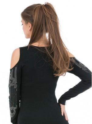Jersey de punto fino con hombros descubiertos y diseño de piedras