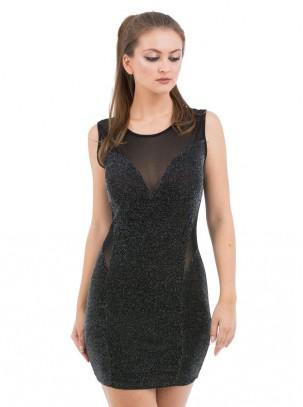 Vestido mini ajustado de lurex con transparencia en escote y cintura