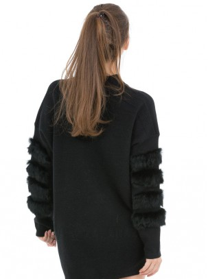 Jersey de punto con diseño de pelo en mangas
