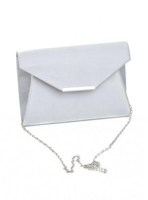 Bolso clutch de satén con solapa, barra de metal y cadena opcional
