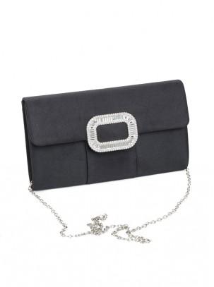 Bolso clutch de satén con solapa, barra de metal con pedreria y cadena opcional
