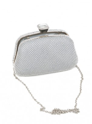 Bolso clutch de cristales y cadena opcional