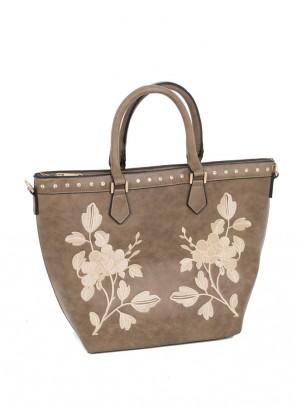 Bolso tote con cierre y compartimiento de cremalleras, diseño de bordado y correa opcional