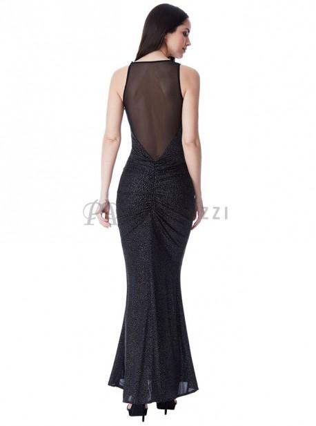 Vestido estilo sirena con brillo y transparencias en escote y espalda