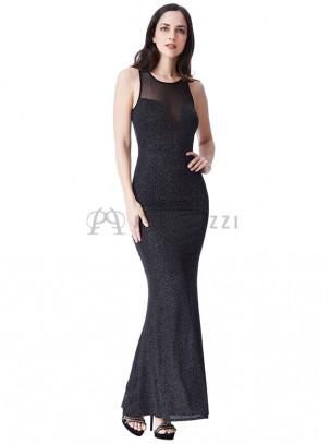 Vestido corte sirena con brillo y transparencias en escote y espalda