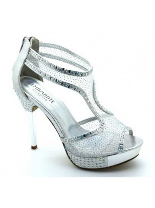 Sandalia de plataforma y tacón con cristales strass, transparencia y cierre de cremallera