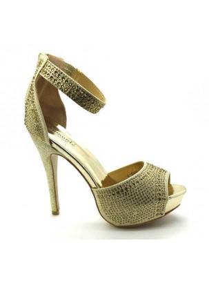 Sandalia de plataforma y tacón con cristales strass y tira en forma de pulsera con cierre de cremallera