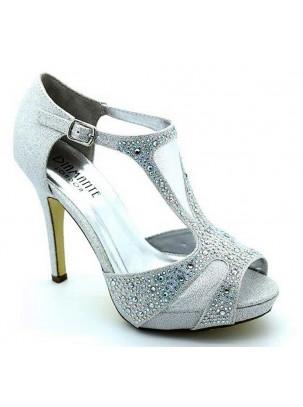 Sandalia de plataforma y tacón con brillo, transparencia, cristales strass y cierre de hebilla