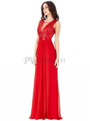 Vestido de gasa con escote en V transparente