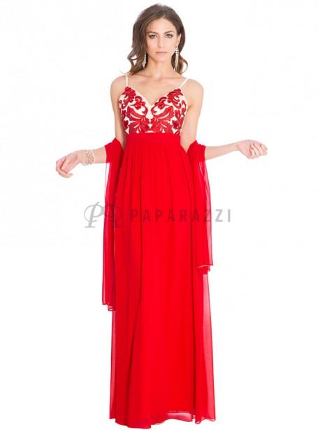Vestido de gasa con bordado en la parte superior y chal incluido