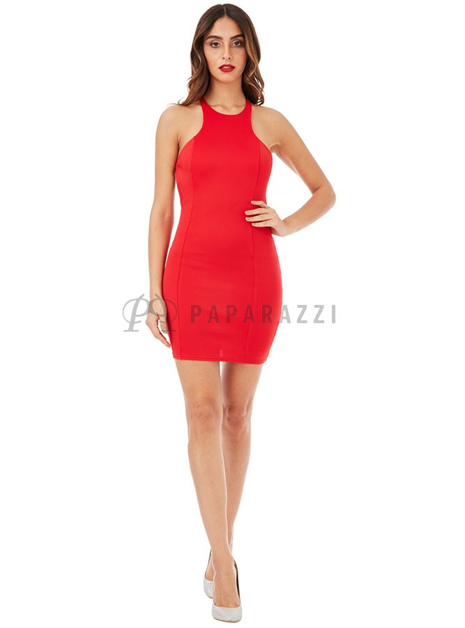 Vestido rojo corto espalda abierta