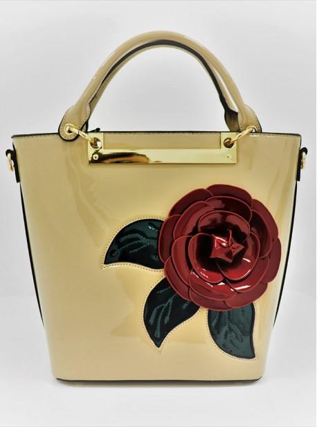 Bolso tote de charol con cierre y compartimientos de cremallera, detalle en forma de flor y correa opcional