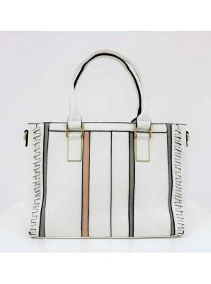 Bolso tote con cierre y compartimientos de cremallera, detalle de costuras, tiras en contraste y correa opcional