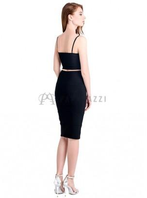 Conjunto ajustado de top y falda