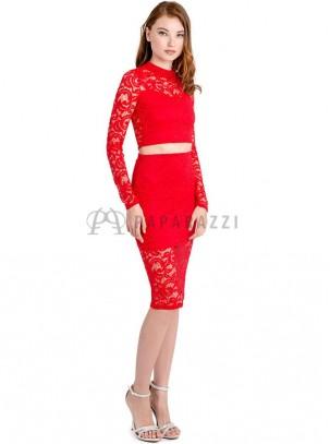 Conjunto de top y falda de encaje