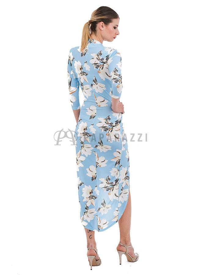 53097d470 ... Vestido estampado, asimétrico y drapeado de mangas largas, con escote  pronunciado en V ...
